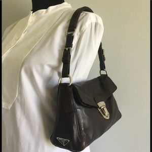 Prada Brown Leather Snap Foldover Bag